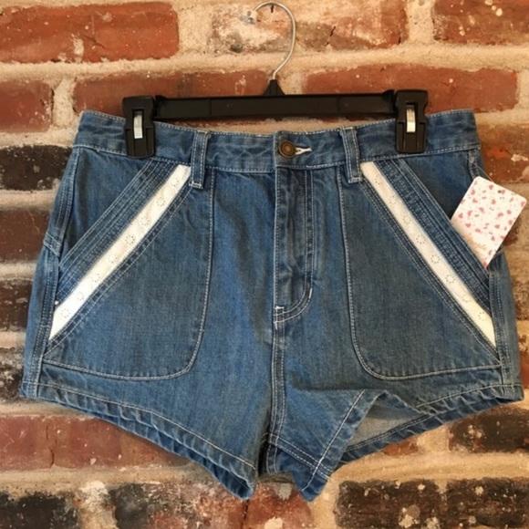 Free People - High Waist Rise Denim Shorts